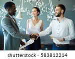 new partners handshaking after... | Shutterstock . vector #583812214