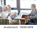 nice smiling aged couple having ... | Shutterstock . vector #583813858