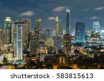 bangkok night view with... | Shutterstock . vector #583815613
