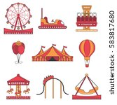 set of amusement park color... | Shutterstock .eps vector #583817680
