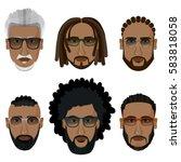 bearded african men hipsters... | Shutterstock .eps vector #583818058