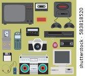 set of gadget of 90s color... | Shutterstock .eps vector #583818520