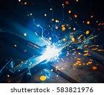 artistic welding sparks light ... | Shutterstock . vector #583821976