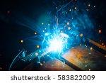 artistic welding sparks light ... | Shutterstock . vector #583822009