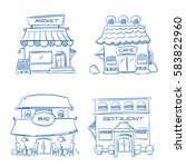 hand drawn store  shop ... | Shutterstock .eps vector #583822960
