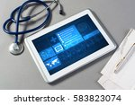 white tablet pc and doctor... | Shutterstock . vector #583823074