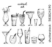 cocktails   set of hand drawn... | Shutterstock .eps vector #583824190