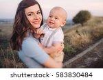 young happy caucasian woman... | Shutterstock . vector #583830484
