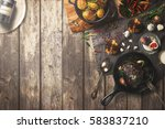 overhead view of colorful roast ...   Shutterstock . vector #583837210