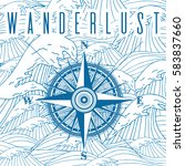 wanderlust poster with compass. ... | Shutterstock .eps vector #583837660