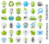 ecological icon set green blue...