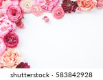 Stock photo pink floral assorted pink flower border on white background 583842928