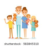 young happy family with pets | Shutterstock .eps vector #583845310