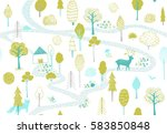 forest pattern with deer  fox... | Shutterstock .eps vector #583850848