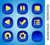 dark blue buttons set. gui...