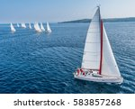 racing sail boat from bird view ... | Shutterstock . vector #583857268