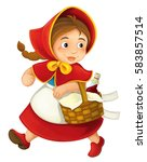 cartoon little girl with lunch... | Shutterstock . vector #583857514
