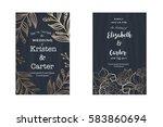 set of wedding card invitation... | Shutterstock .eps vector #583860694