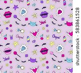 cute fashion seamless pattern... | Shutterstock .eps vector #583861528