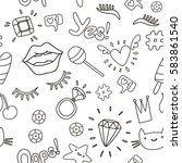 cute fashion seamless pattern... | Shutterstock .eps vector #583861540