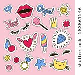 fashion cute set  patches ... | Shutterstock .eps vector #583861546