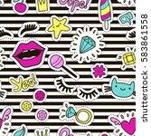cute fashion seamless pattern... | Shutterstock .eps vector #583861558