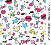 cute fashion seamless pattern... | Shutterstock .eps vector #583861570