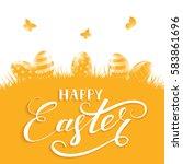 orange background with easter... | Shutterstock .eps vector #583861696