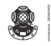 Vintage style diver helmet isolated on white background. Design element for emblem, badge. Vector illustration.