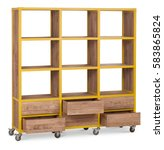 wooden rack shelf on wheels.... | Shutterstock . vector #583865824