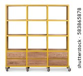 wooden rack shelf on wheels.... | Shutterstock . vector #583865878