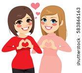 two best friends girls smiling... | Shutterstock .eps vector #583866163