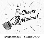 cheers madam. male human hand... | Shutterstock .eps vector #583869970