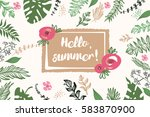 hello summer.  | Shutterstock .eps vector #583870900