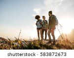 group of people hiking in... | Shutterstock . vector #583872673