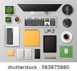 vector white wooden working... | Shutterstock .eps vector #583875880