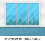 empty room with big window.... | Shutterstock .eps vector #583876870