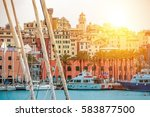 Genua Harbour Northern Italy. Genua Cityscape and the Marina. Italian Riviera. - stock photo
