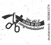 vector class of 2017 badge.... | Shutterstock .eps vector #583881574