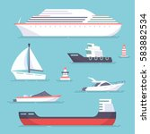 set of marine ships  boats ... | Shutterstock .eps vector #583882534
