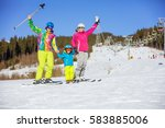cheerful family of three... | Shutterstock . vector #583885006