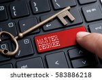 Small photo of Closed up finger on keyboard with word MASTER DEGREE