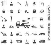 truck crane icon. construction... | Shutterstock . vector #583886914