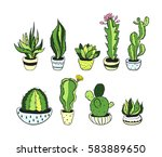 set of hand drawn green cactus  ... | Shutterstock .eps vector #583889650