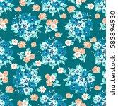 vintage feedsack pattern in... | Shutterstock . vector #583894930