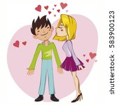 couple of young lovers  cute... | Shutterstock .eps vector #583900123