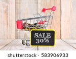 trolley and coins with sale... | Shutterstock . vector #583906933