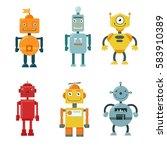 vector set of funny robots.... | Shutterstock .eps vector #583910389