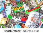fridge magnets from europe.... | Shutterstock . vector #583911610