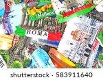 fridge magnets from europe.... | Shutterstock . vector #583911640